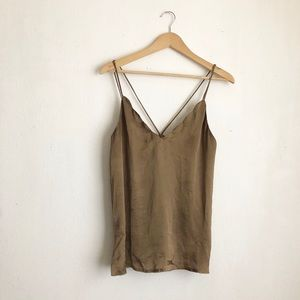 Free people olive tank top blouse sz:S strappy